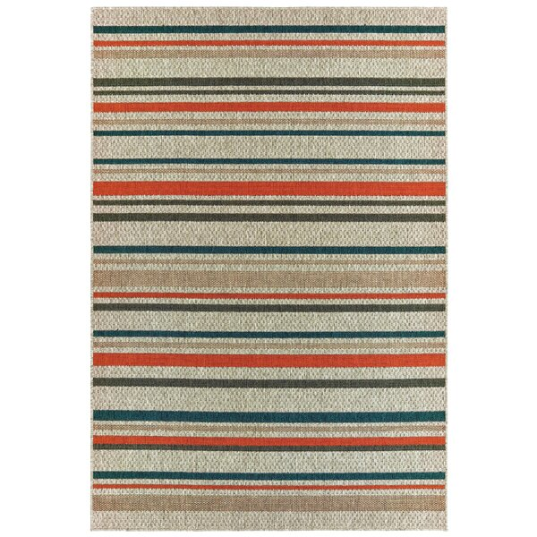 Berryville Striped Gray/Blue/Orange Indoor/Outdoor Area Rug by World Menagerie