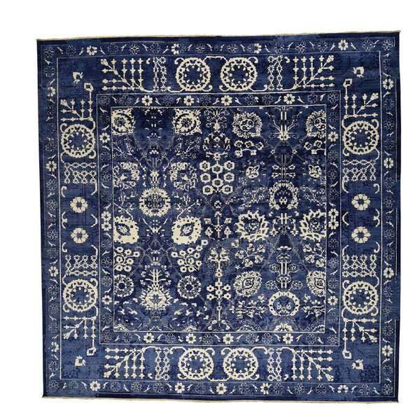 One-of-a-Kind Rudolph Tone on Tone Hand-Knotted Blue Area Rug by Astoria Grand
