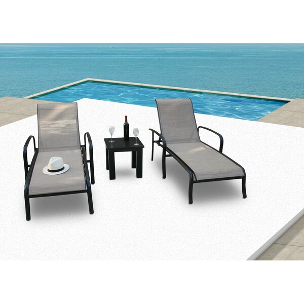 Herald Reclining Chaise Lounge with Table by Latitude Run