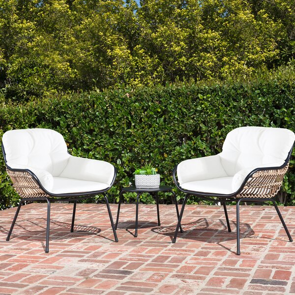 Anne 3 Piece Rattan Seating Group with Cushion by Bungalow Rose
