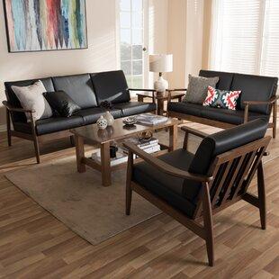 Kellner Mid-Century Modern 3 Piece Wood Frame Living Room Set ByUnion Rustic