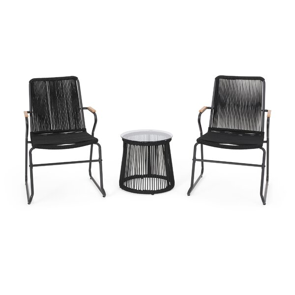 Birshire Outdoor Rope Weave Chat 3 Piece Seating Group by Wrought Studio