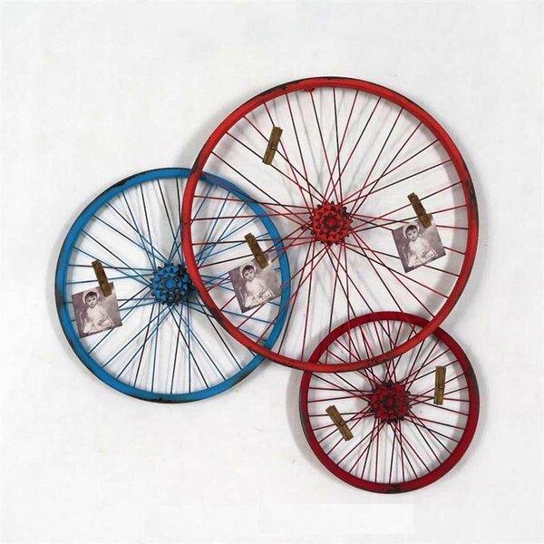 Triple Metal Bike Wheel Sculpture Wall Décor by Wilco Home