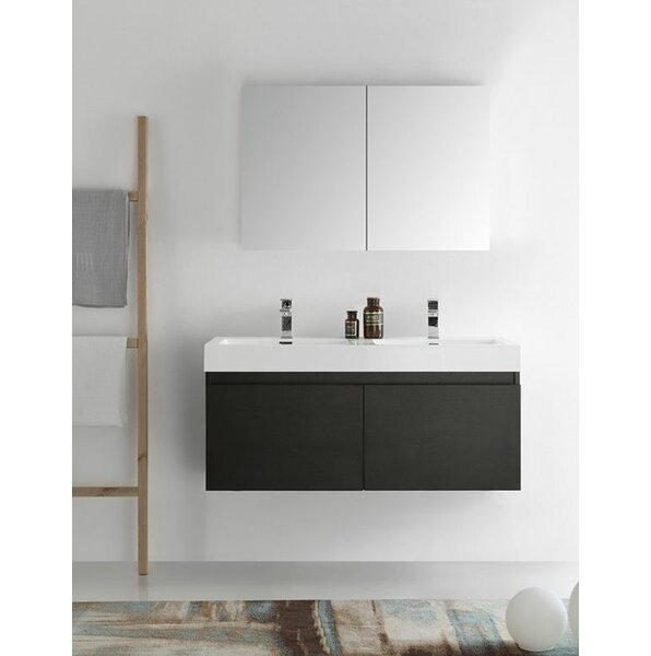 Senza 48 Mezzo Double Wall Mounted Modern Bathroom Vanity Set with Mirror by Fresca
