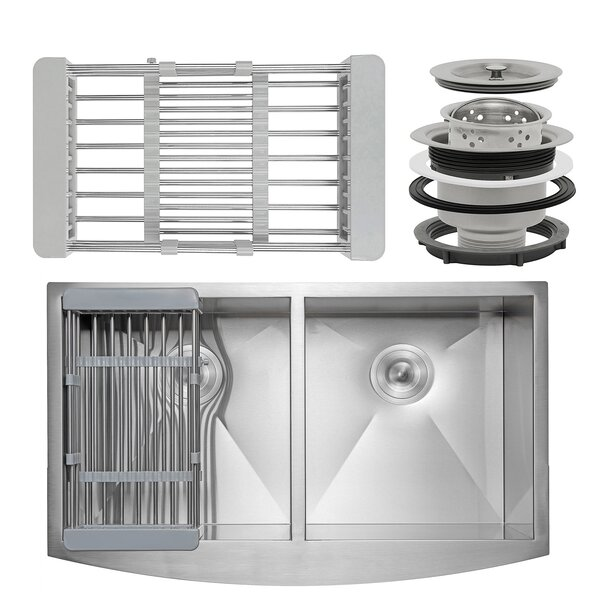 33 x 20 Farmhouse Apron Stainless Steel Double Bowl 50/50 Kitchen Sink w/ Adjustable Tray and Drain Strainer Kit by AKDY