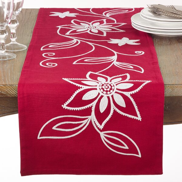 Driftwood Embroidered Poinsettia Detail Table Runner by The Holiday Aisle