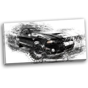 Black and White Muscle Car Graphic Art on Wrapped Canvas by Design Art