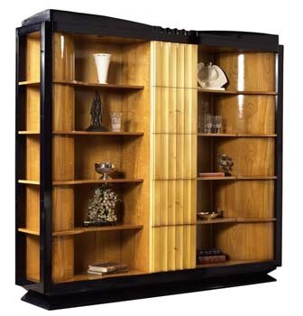 Ebeling Italian Art Deco Oversized Set Bookcase by