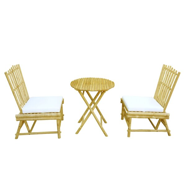 Bamboo 3 Piece Dinning Set with Cushion by ZEW Inc