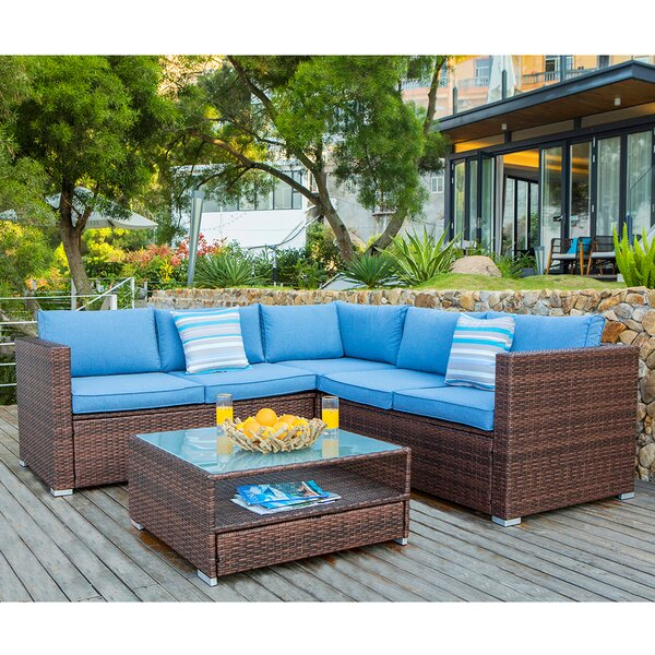 Kyle 4 Piece Rattan Sectional Seating Group with Cushions by Bayou Breeze
