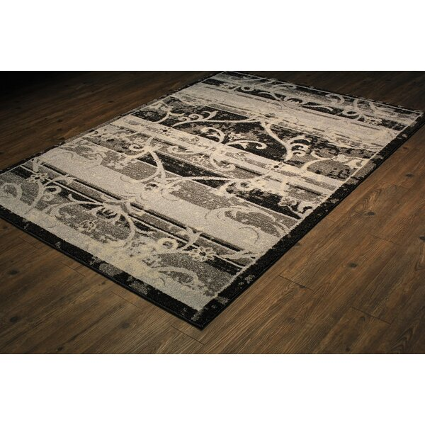 Greenough Persian Black/Ivory Area Rug by Fleur De Lis Living