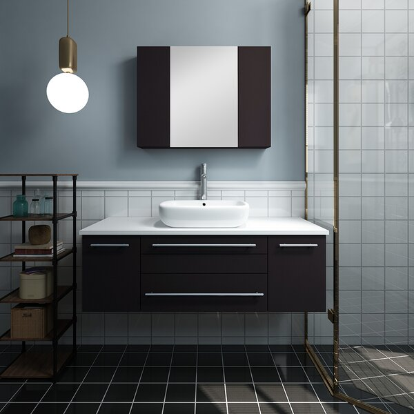 Lucera 48 Wall Hung Vessel Sink Single Bathroom Vanity