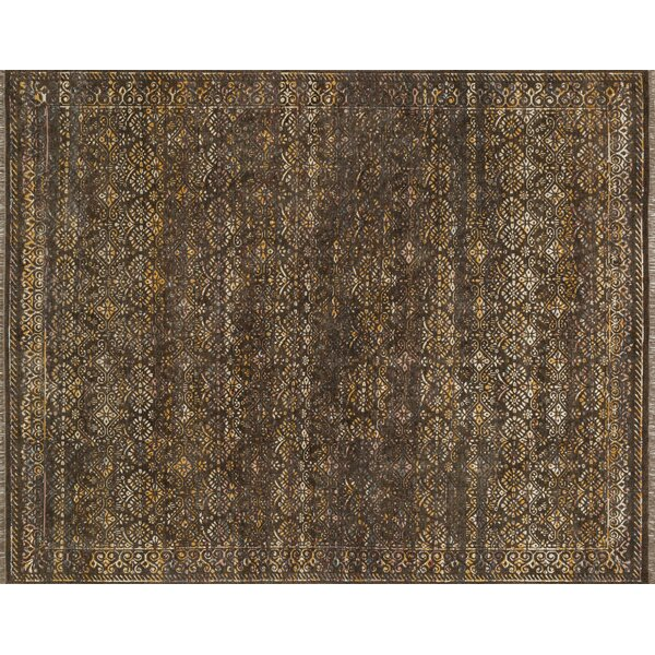Keithley Hand-Knotted Brown Area Rug by Alcott Hill