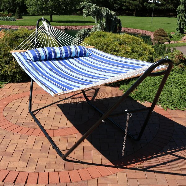 Brielle Quilted Double Fabric 2-Person Hammock with Stand by Freeport Park