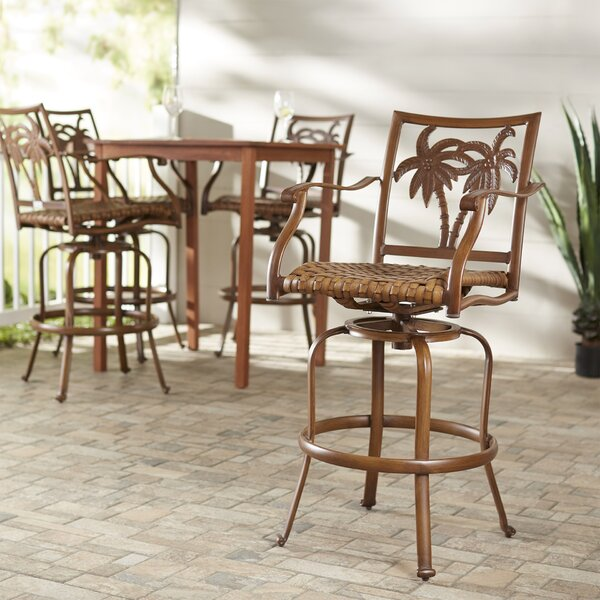 Saskia 30 Patio Bar Stool (Set of 4) by Beachcrest Home