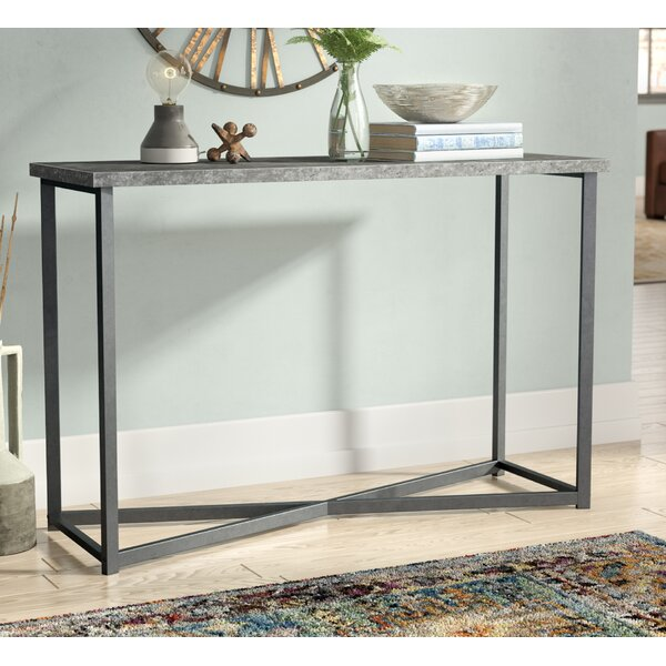 Vlad Slate Faux Concrete Rectangular Console Table by 17 Stories