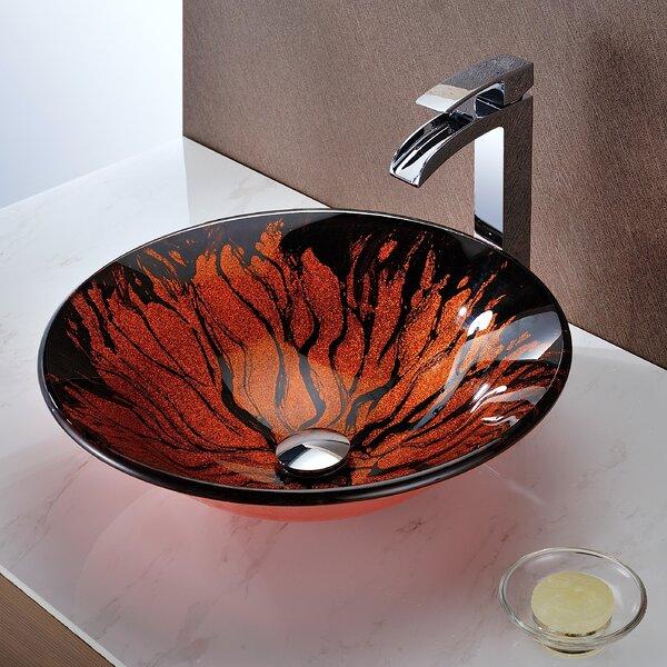 Forte Glass Circular Vessel Bathroom Sink by ANZZI
