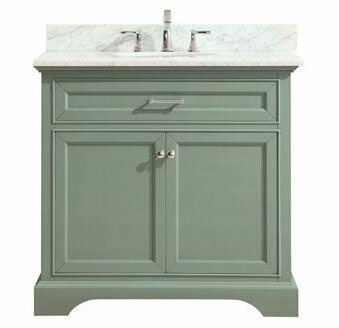 Valentia Marble Top 37 Single Bathroom Vanity Set by Rosecliff Heights