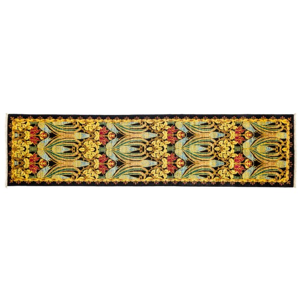 One-of-a-Kind Arts and Crafts Hand-Knotted Yellow Area Rug by Darya Rugs