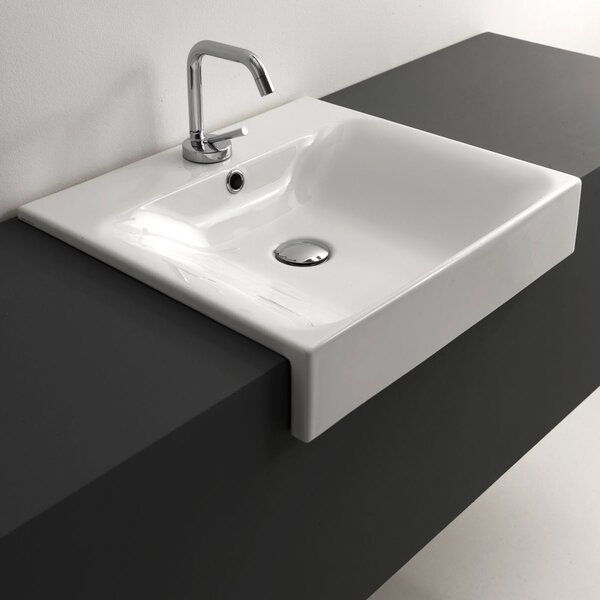 Cento Ceramic Ceramic Rectangular Vessel Bathroom Sink with Overflow by WS Bath Collections