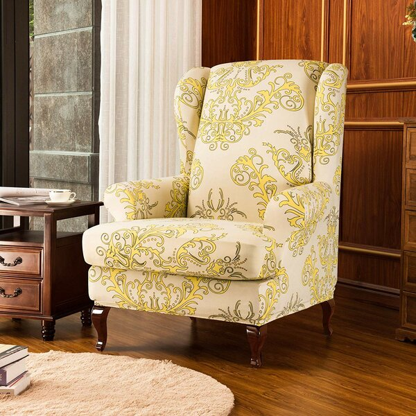 Compare Price Universal Spandex T-Cushion Wingback Slipcover