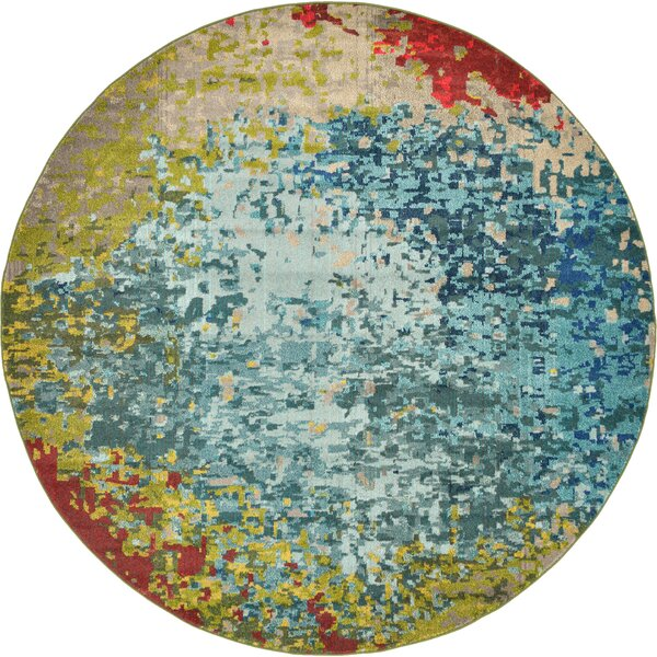 Demian Blue/Red Area Rug by Bungalow Rose