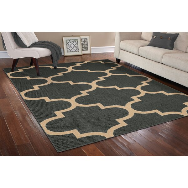 Large Quatrefoil Cinder/Tan Area Rug by Garland Rug