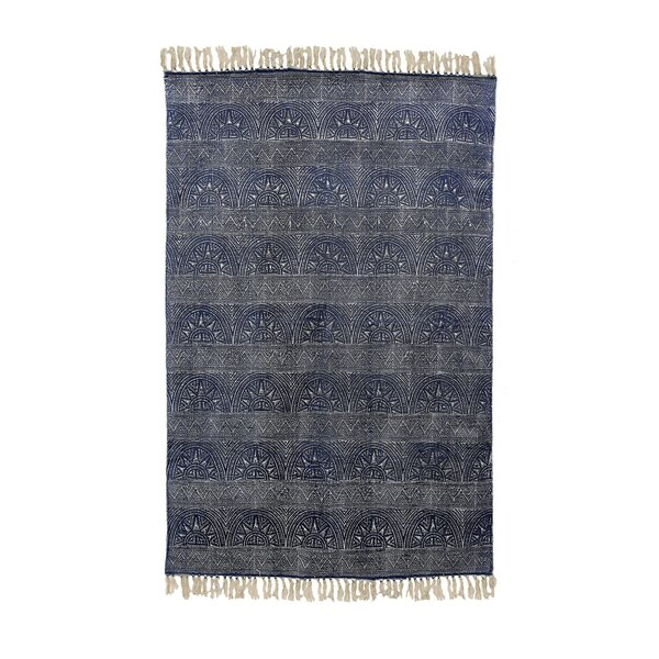 Triplett Printed Cotton Blue Area Rug by World Menagerie