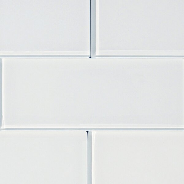 Shiny 4.75 x 13 Glass Field Tile in White by The Bella Collection