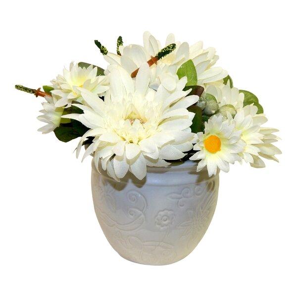 Mums Floral Arrangement in Pot by August Grove