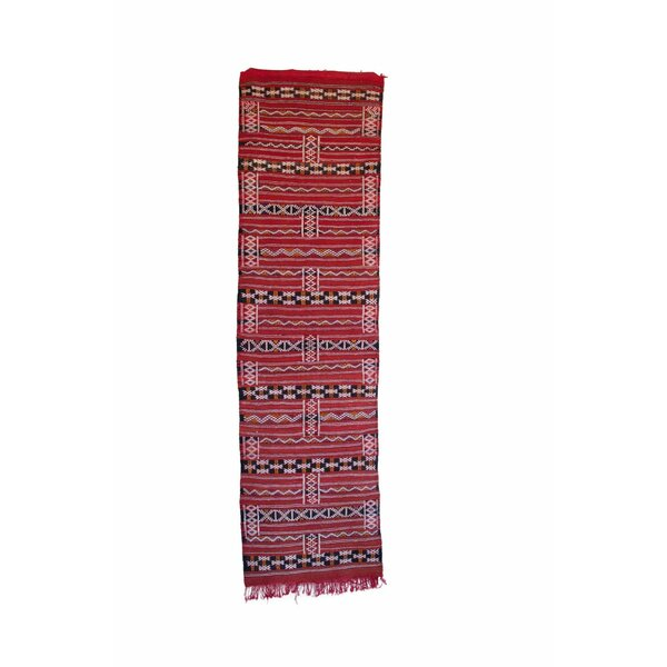 Aknif Moroccan Hand Knotted Wool Red/Black Area Rug by Indigo&Lavender