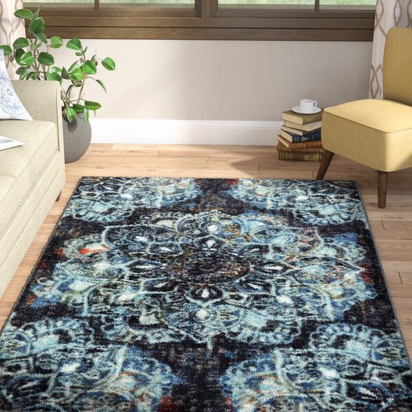 Fontanne Mandala Blue/Black Area Rug by World Menagerie