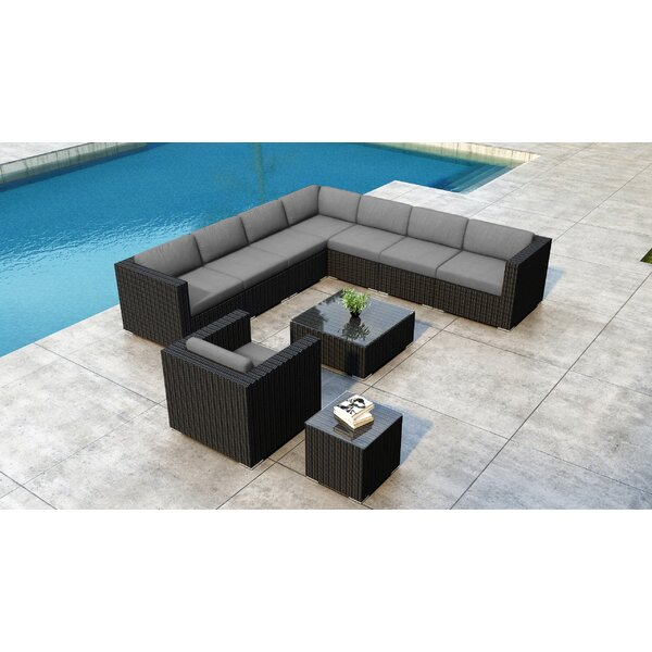 Glendale 10 Piece Rattan Sectional Seating Group with Sunbrella Cushions by Everly Quinn