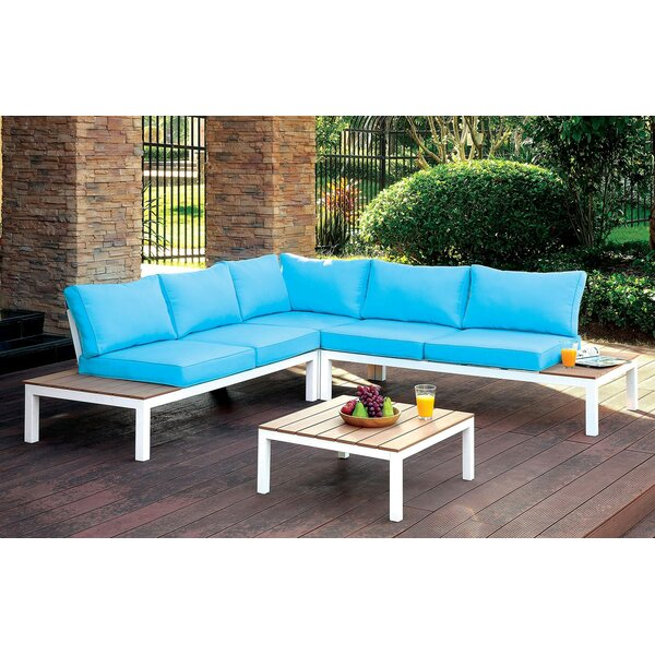 Hinton 2 Piece Sectional Rattan Seating Group with Cushions by Rosecliff Heights