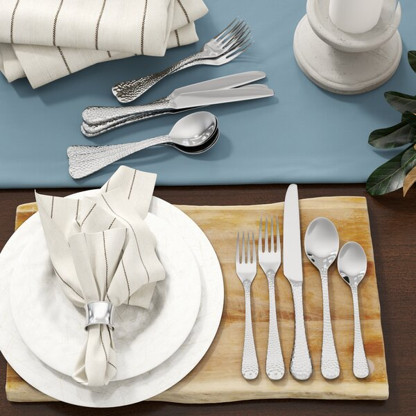 André 20-Piece Hammered Flatware Set, Service for 4 by Birch Lane™ Heritage