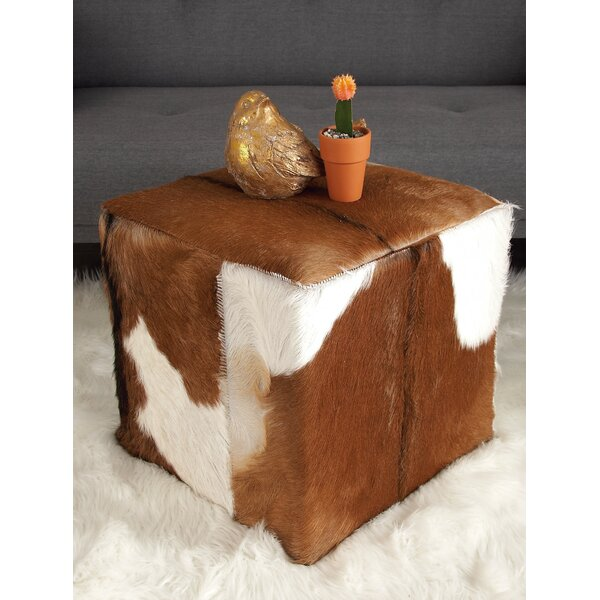 Leather Cube Ottoman by Cole & Grey