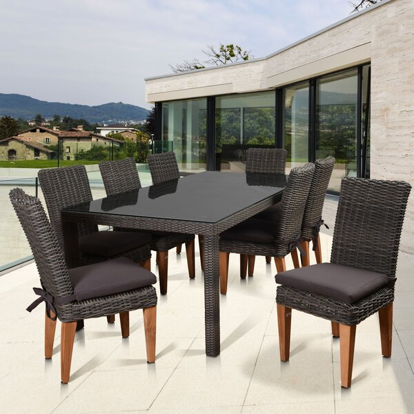 Elsmere Patio 9 Piece Teak Dining Set with Cushions by Beachcrest Home