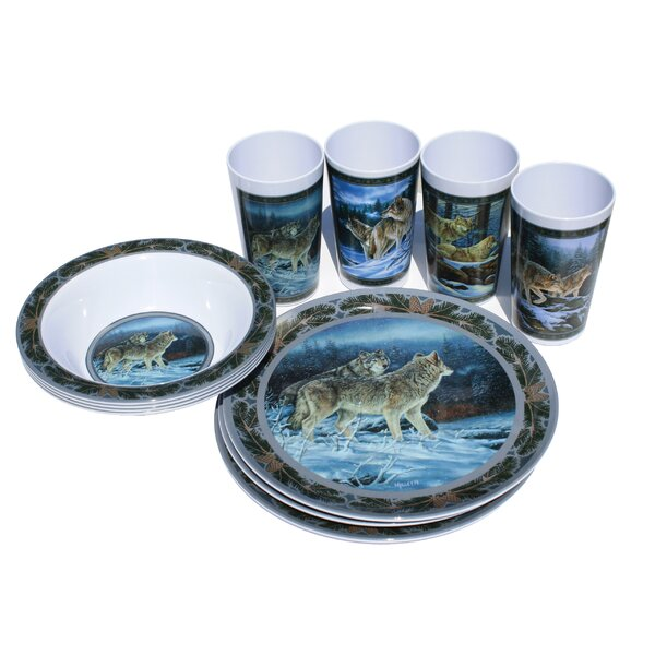 Wolf Melamine 12 Piece Dinnerware Set, Service for 4 by MotorHead Products