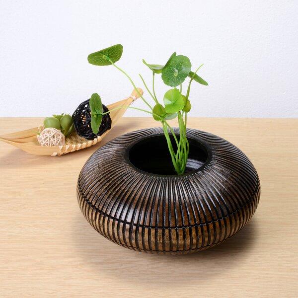 Cadmus Short Flat Mango Wood Table Vase by World Menagerie