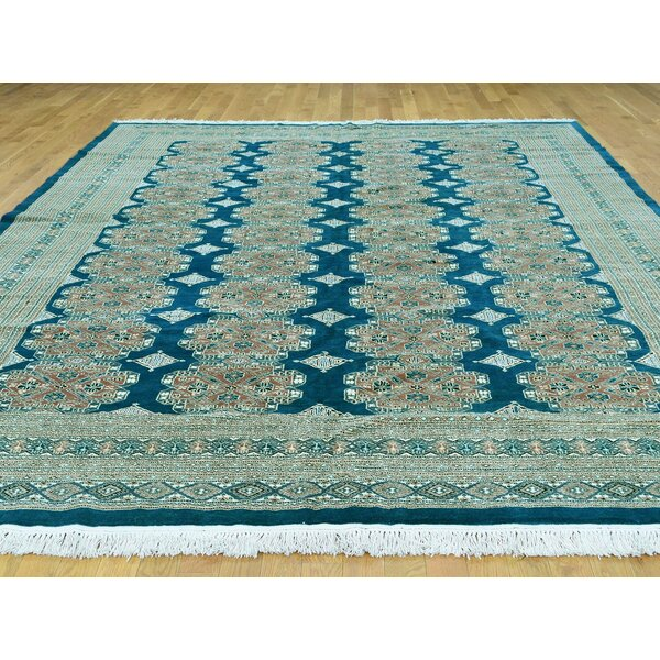 One-of-a-Kind Bobby Jones Jaldar Design Bokara Handwoven Teal Wool Area Rug by Isabelline