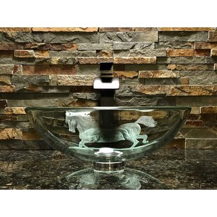 Compare prices Stallion Glass Circular Vessel Bathroom Sink By Elegant Glass Engraving Studio
