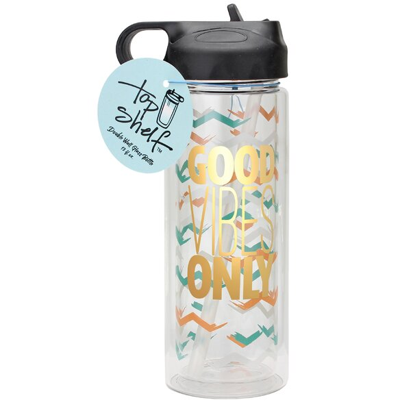 Good Vibes Only Glass 13 oz. Water Bottle by Top Shelf