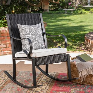 Kampmann Outdoor Wicker Rocking Chair with Cushions August Grove