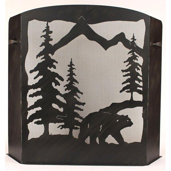 Glynis Bear Scene 3 Panel Iron Fireplace Screen by Loon Peak