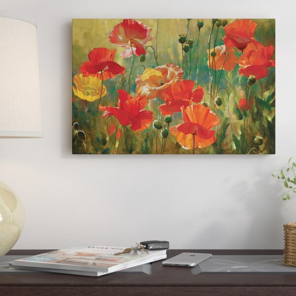 Poppy Fields Painting on Wrapped Canvas by East Ur