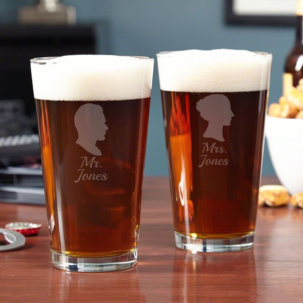 Mr. & Mrs. Personalized 16 oz. Glass Pint Glass (Set of 2) by Home Wet Bar