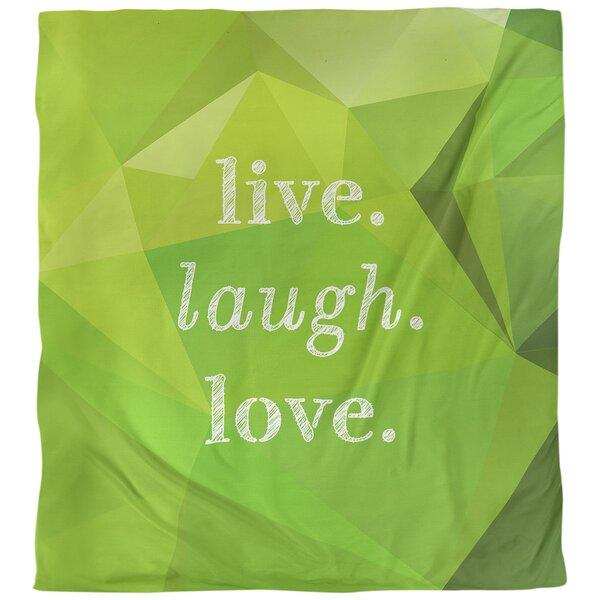 Quotes Faux Gemstone Live Laugh Love Single Reversible Duvet Cover