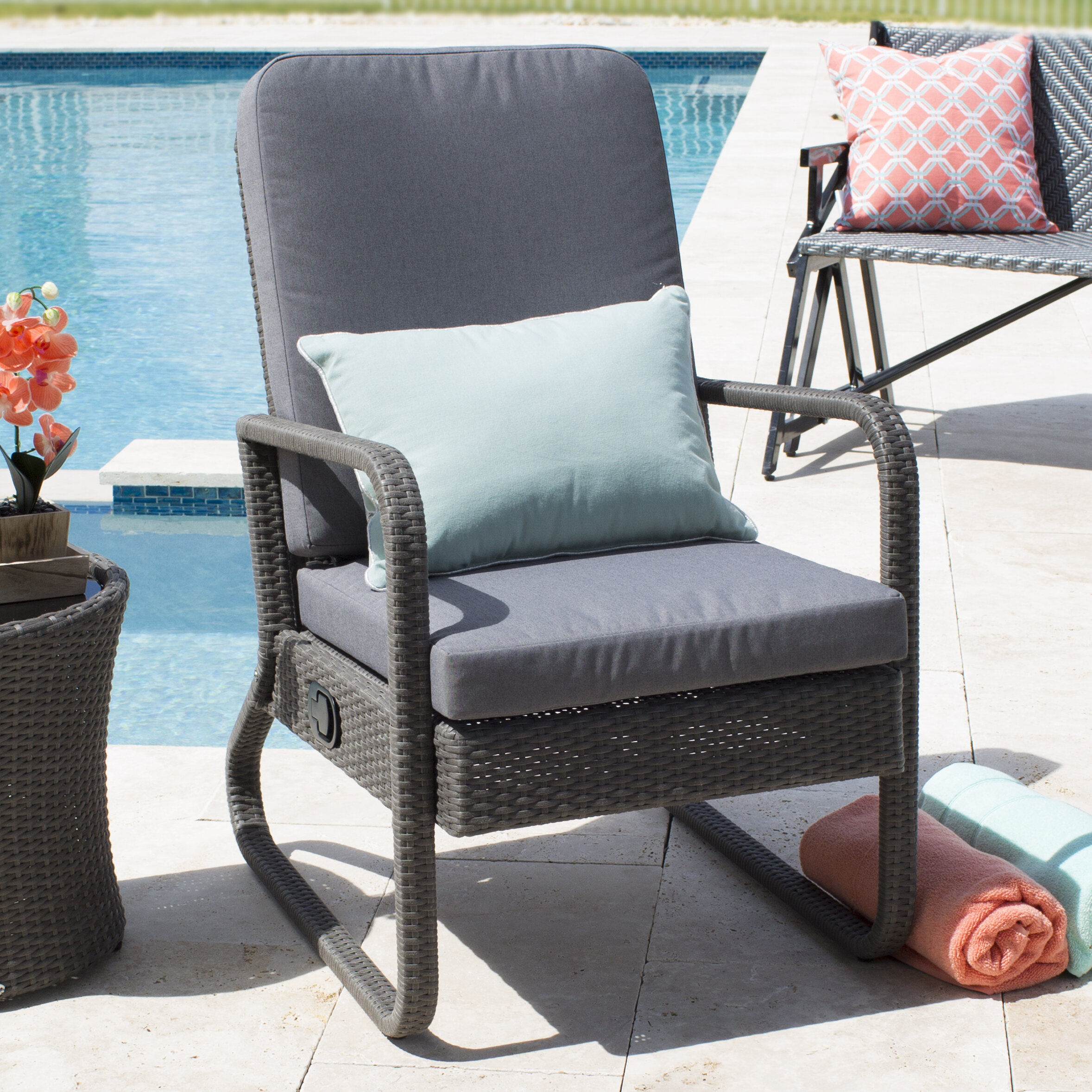 red barrel studio harding outdoor recliner chair with cushions