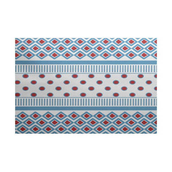 Abbie Blue/Red Indoor/Outdoor Area Rug by Ebern Designs