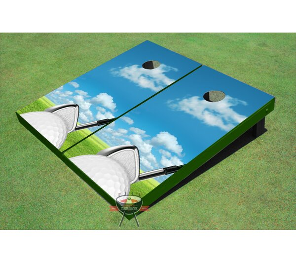Golf Ball Square Up Cornhole Board (Set of 2) by All American Tailgate